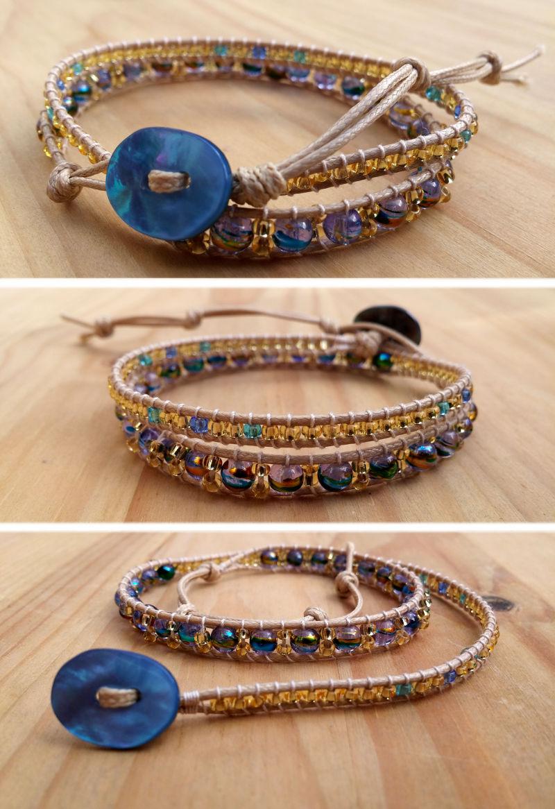 Bracelet wrap 2 tours rocaille dorée perles de verre craquelé bleues
