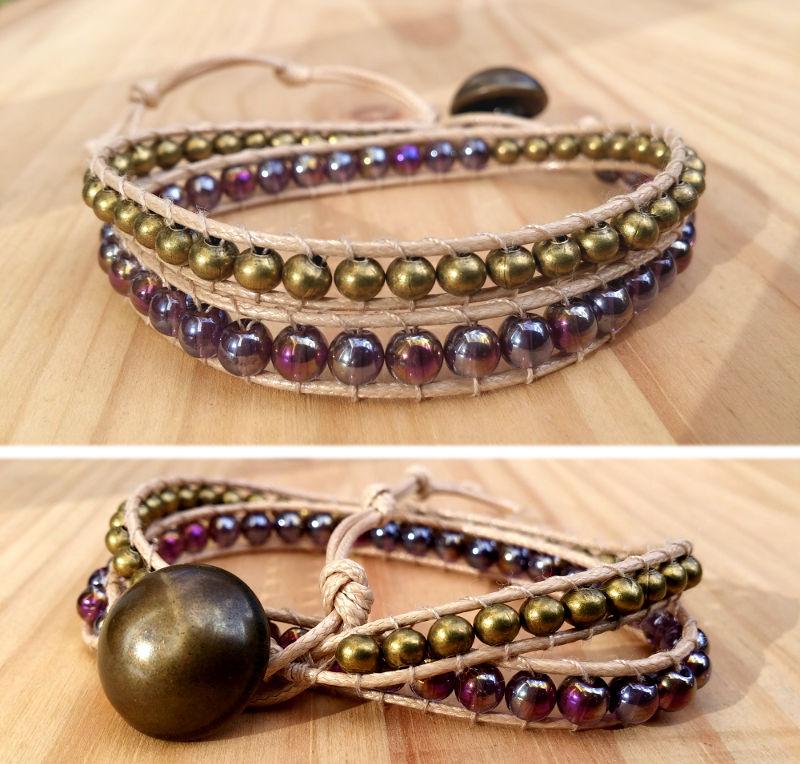 Bracelet wrap 2 tours perles de verre reflets violets perles métal couleur bronze